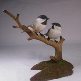 Pair of Black-capped Chickadee Bird Carvings#1