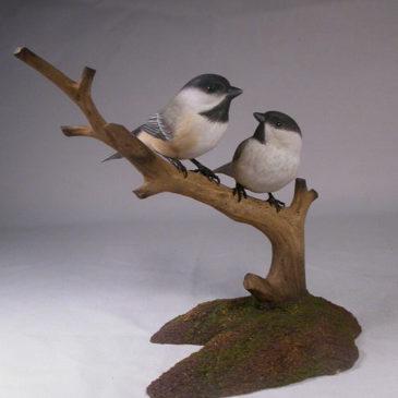 Pair of Black-capped Chickadee Bird Carvings#1