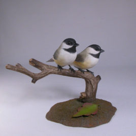 Pair of Black-capped Chickadee Bird Carvings#2