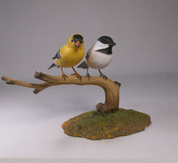 Black-capped Chickadee and America Goldfinch