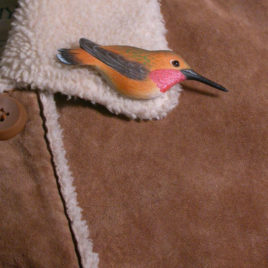 "Rufous Hummingbird Feather Pin (Male) 3½""L"
