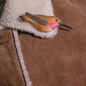 """Rufous Hummingbird Feather Pin (Male) 3½""""L"""