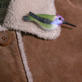 "Costa's Hummingbird Feather Pin (Male) 3½""L"