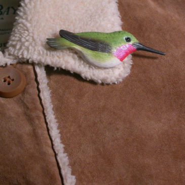 """Broad-tailed Hummingbird Feather Pin (Male) 3½""""L"""