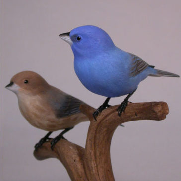Pair of Indigo Bunting Carvings (Male and Female)