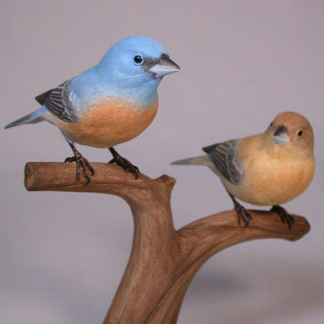 Pair of Lazuli Bunting Carvings (Male and Female)