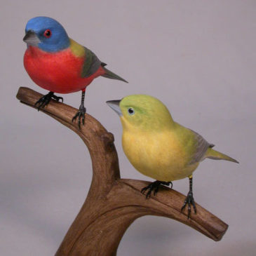 Pair of Painted Bunting Carvings (Male and Female)