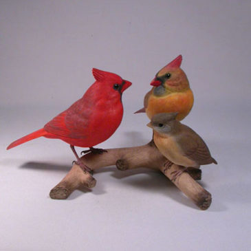 Life size Northern Cardinal Family