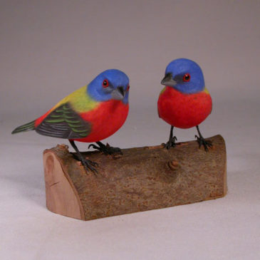 Pair of Painted Bunting Carvings (Two Female)